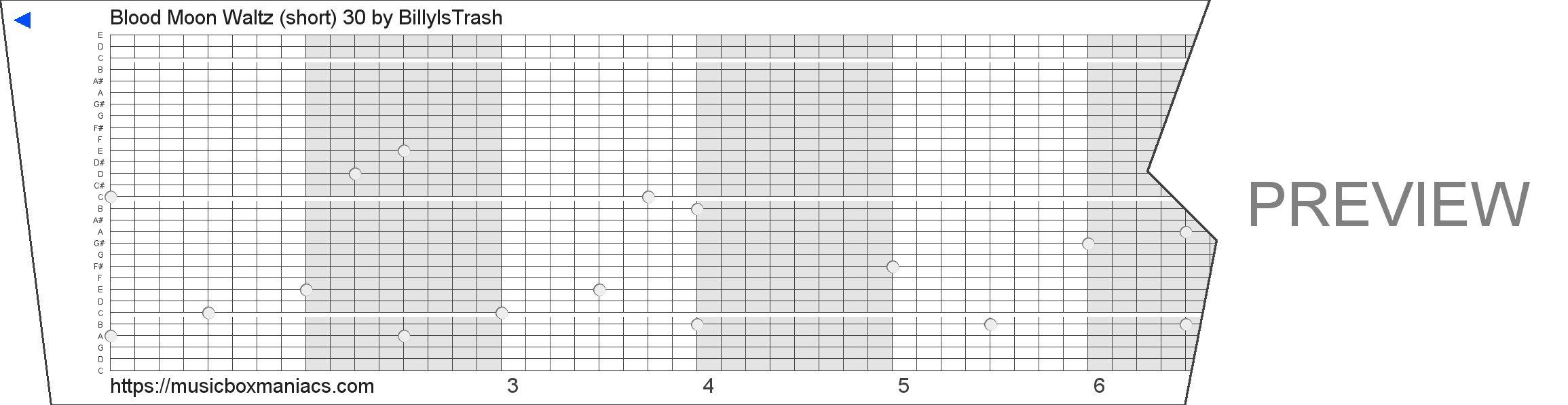 Blood Moon Waltz (short) 30 30 note music box paper strip