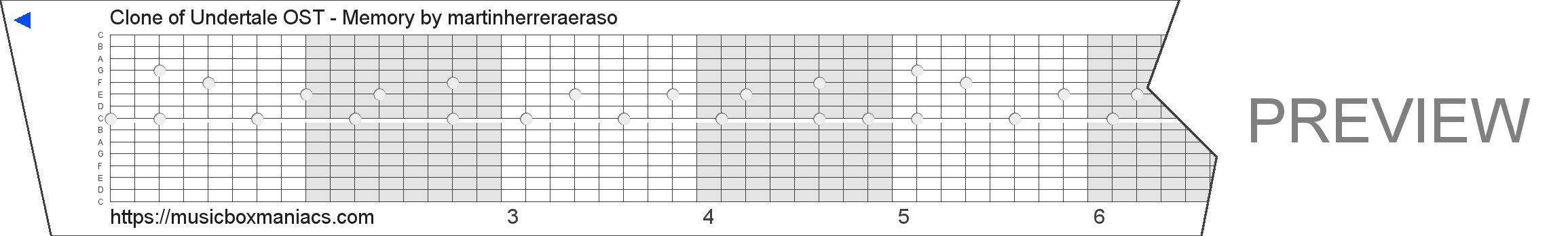 Clone of Undertale OST - Memory 15 note music box paper strip