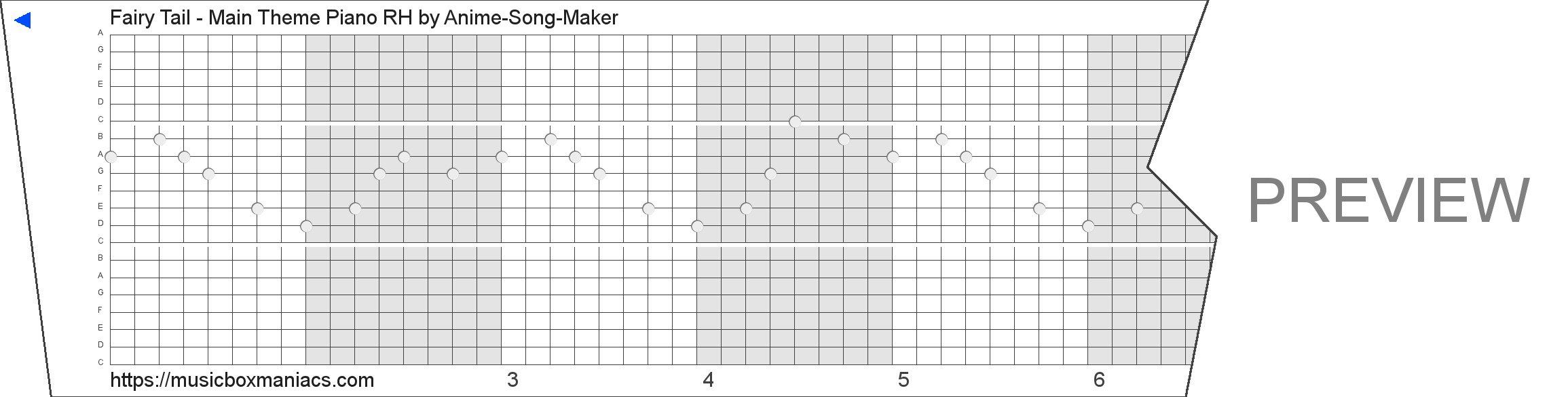 Fairy Tail - Main Theme Piano RH 20 note music box paper strip