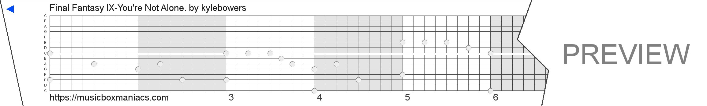 Final Fantasy IX-You're Not Alone. 15 note music box paper strip