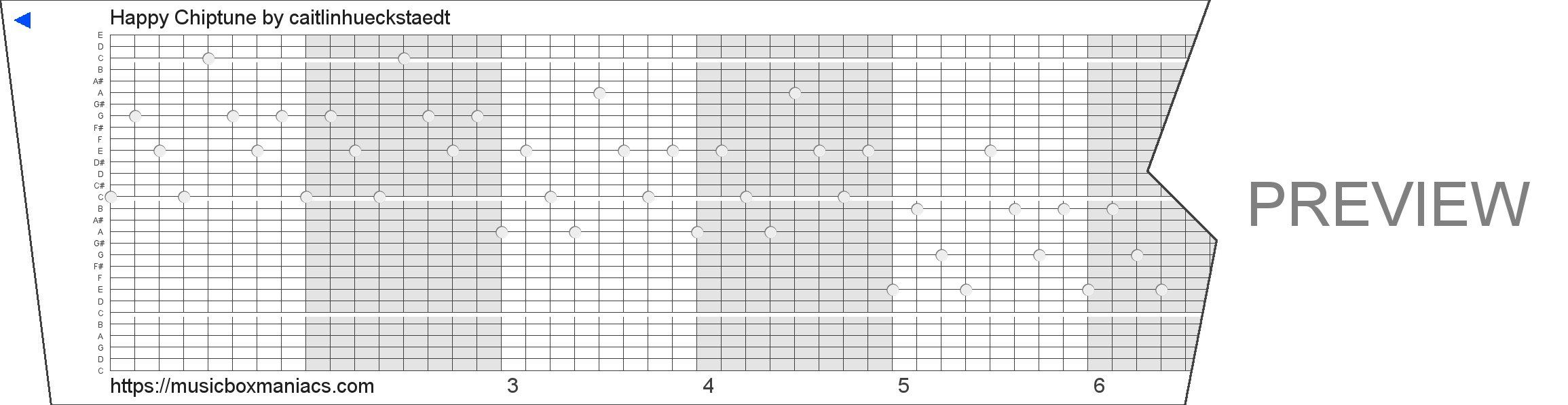 Happy Chiptune 30 note music box paper strip