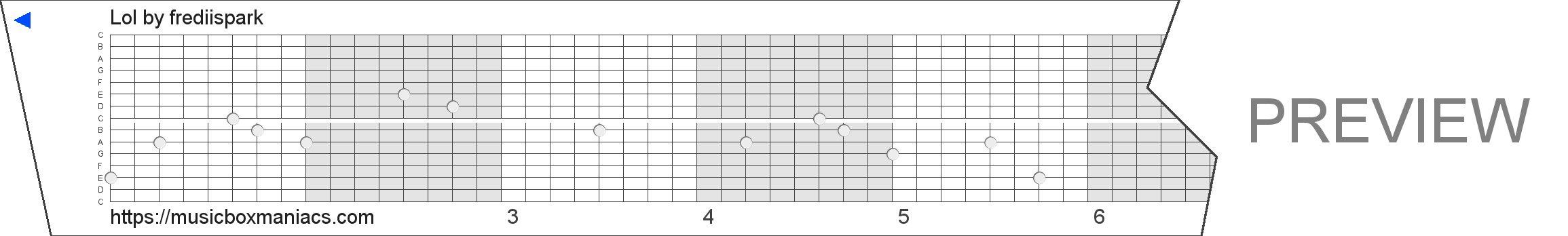 Lol 15 note music box paper strip