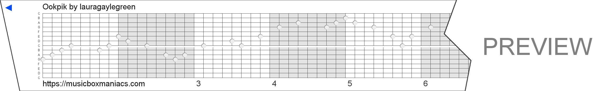 Ookpik 15 note music box paper strip