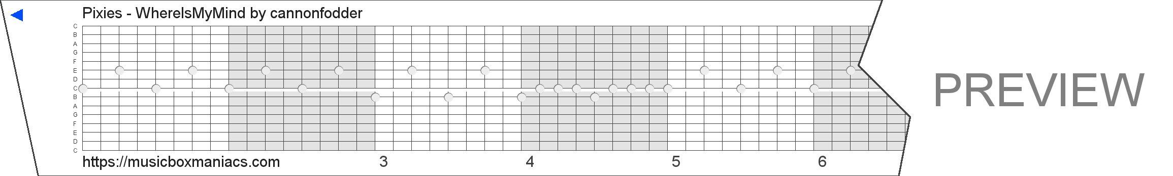 Pixies - WhereIsMyMind 15 note music box paper strip