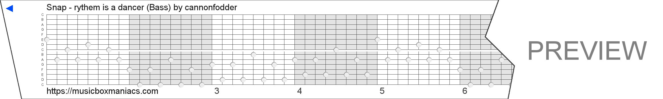 Snap - rythem is a dancer (Bass) 15 note music box paper strip