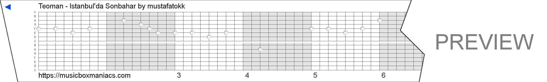 Teoman - İstanbul'da Sonbahar 15 note music box paper strip