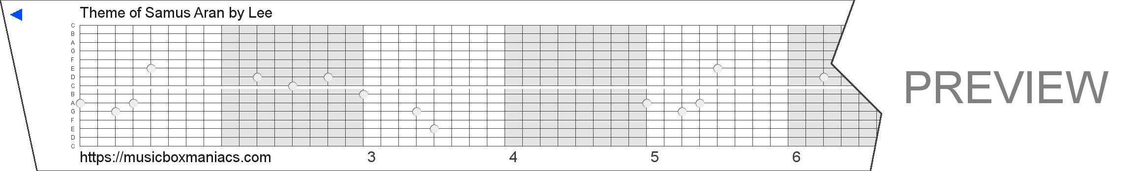 Theme of Samus Aran 15 note music box paper strip