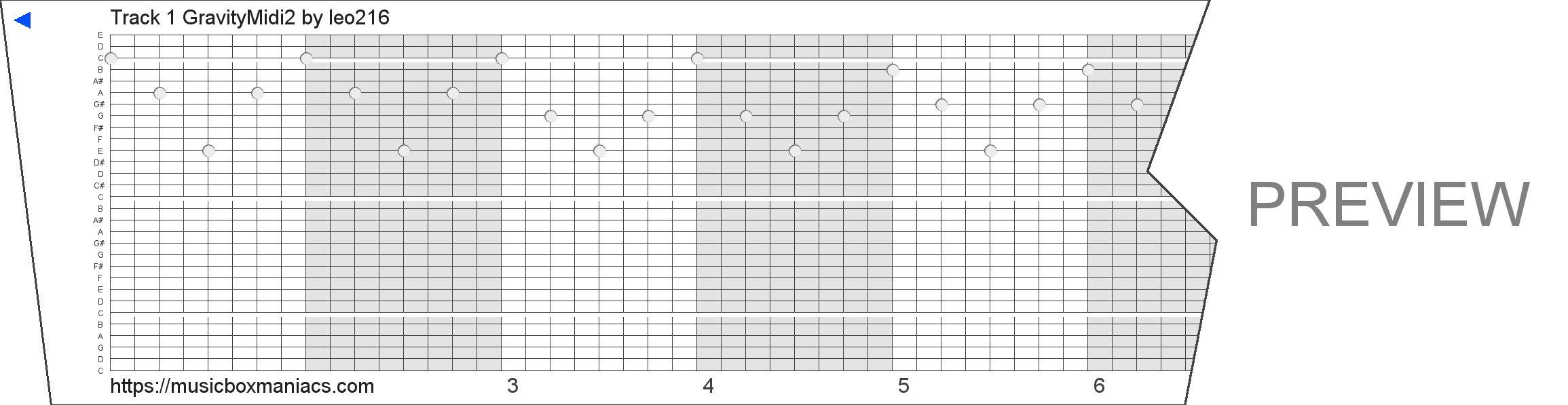 Track 1 GravityMidi2 30 note music box paper strip