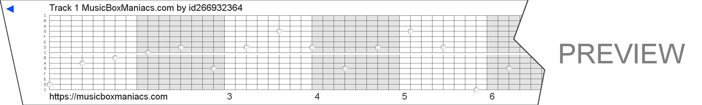 Track 1 MusicBoxManiacs.com 15 note music box paper strip