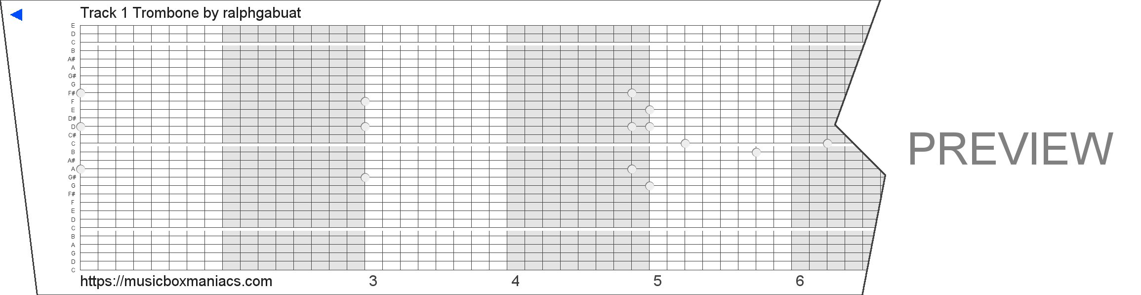 Track 1 Trombone 30 note music box paper strip