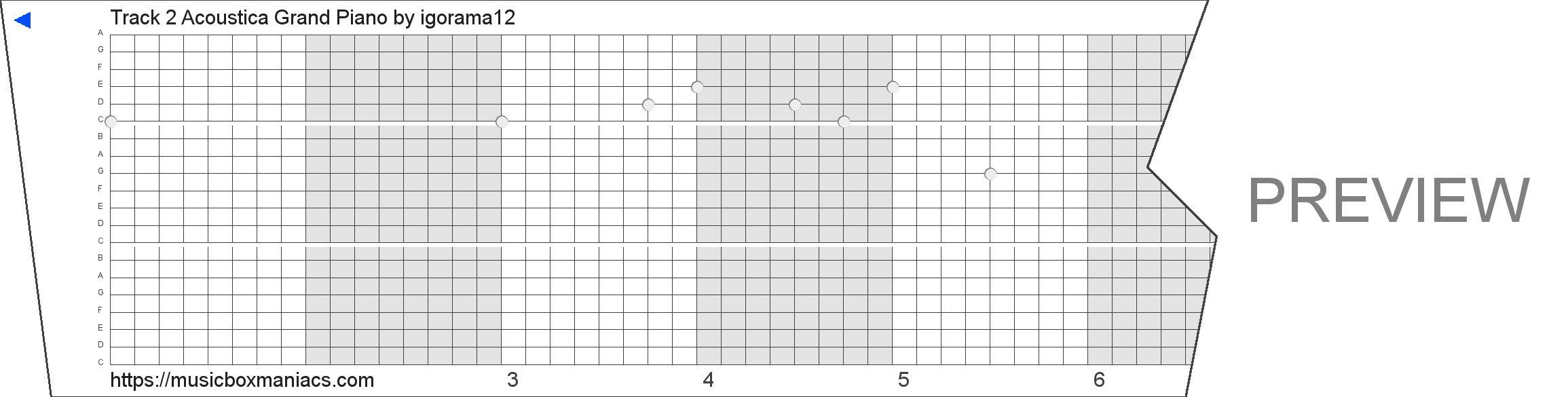 Track 2 Acoustica Grand Piano 20 note music box paper strip