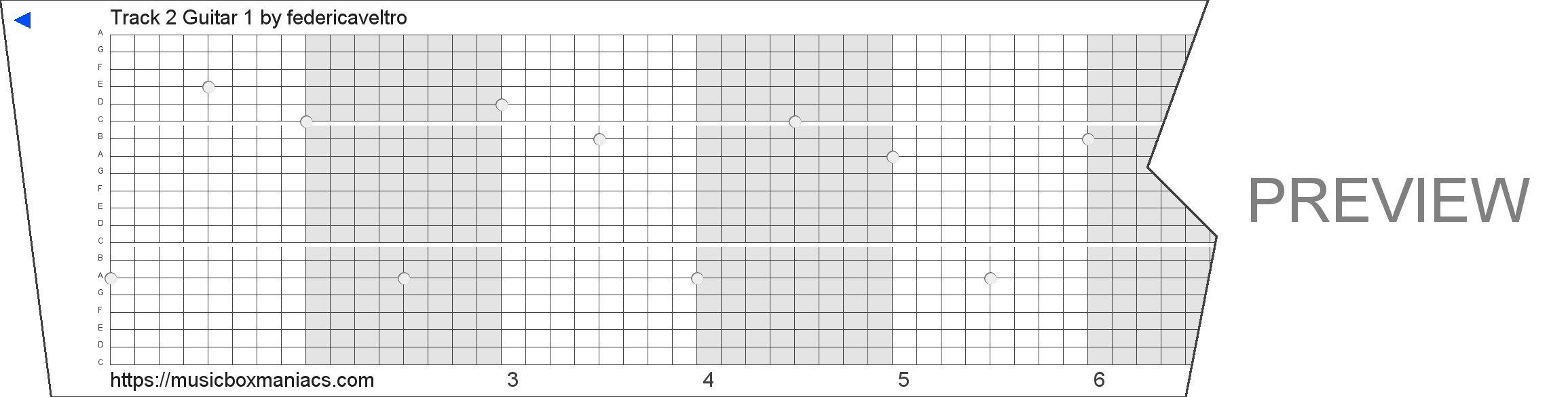 Track 2 Guitar 1 20 note music box paper strip