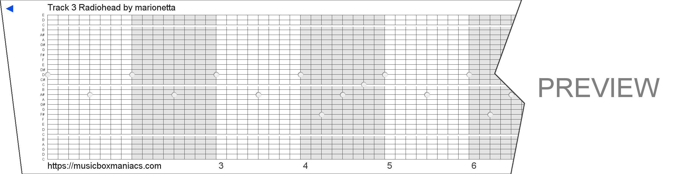 Track 3 Radiohead 30 note music box paper strip