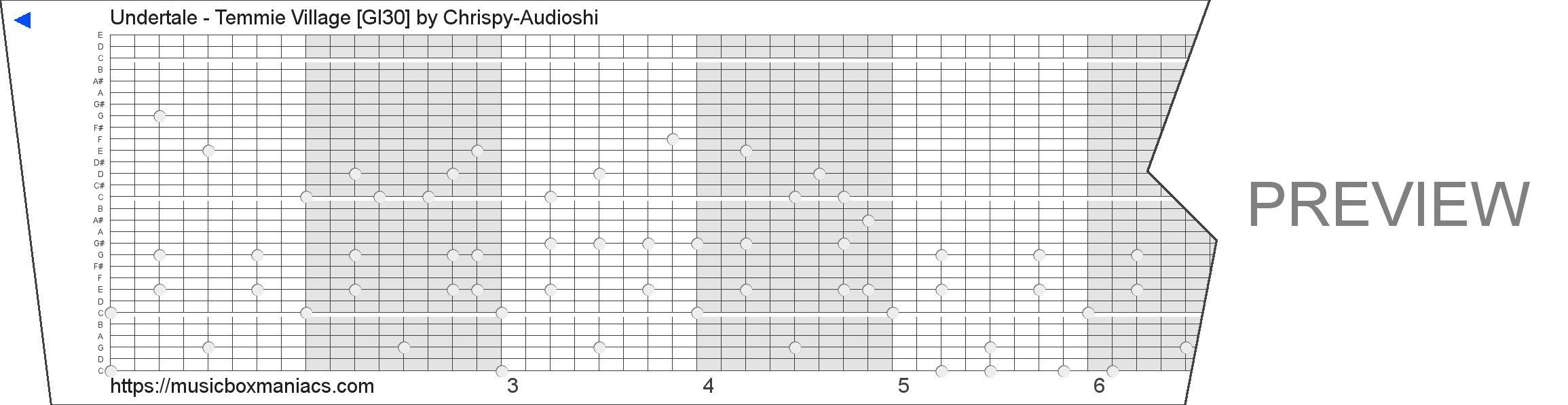 Undertale - Temmie Village [GI30] 30 note music box paper strip