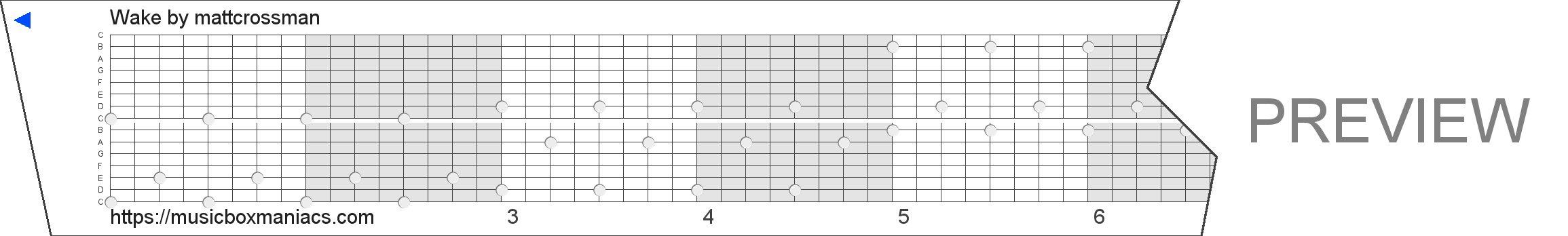 Wake 15 note music box paper strip
