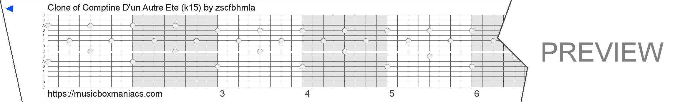 Clone of Comptine D'un Autre Été (k15) 15 note music box paper strip