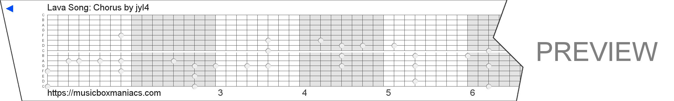 Lava Song: Chorus 15 note music box paper strip