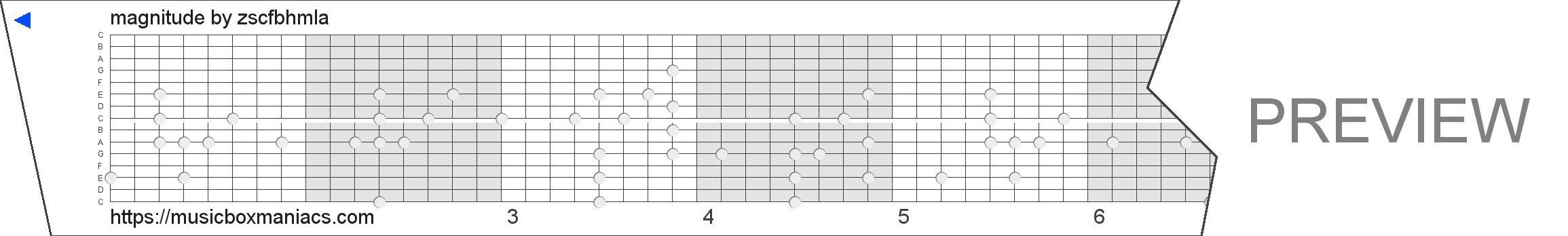 magnitude 15 note music box paper strip