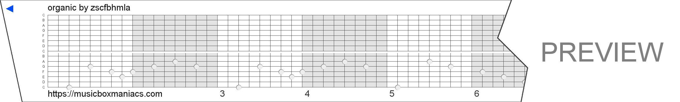 organic 15 note music box paper strip