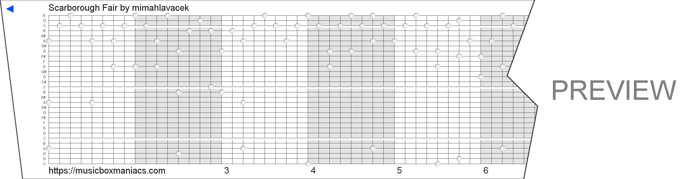 Scarborough Fair 30 note music box paper strip