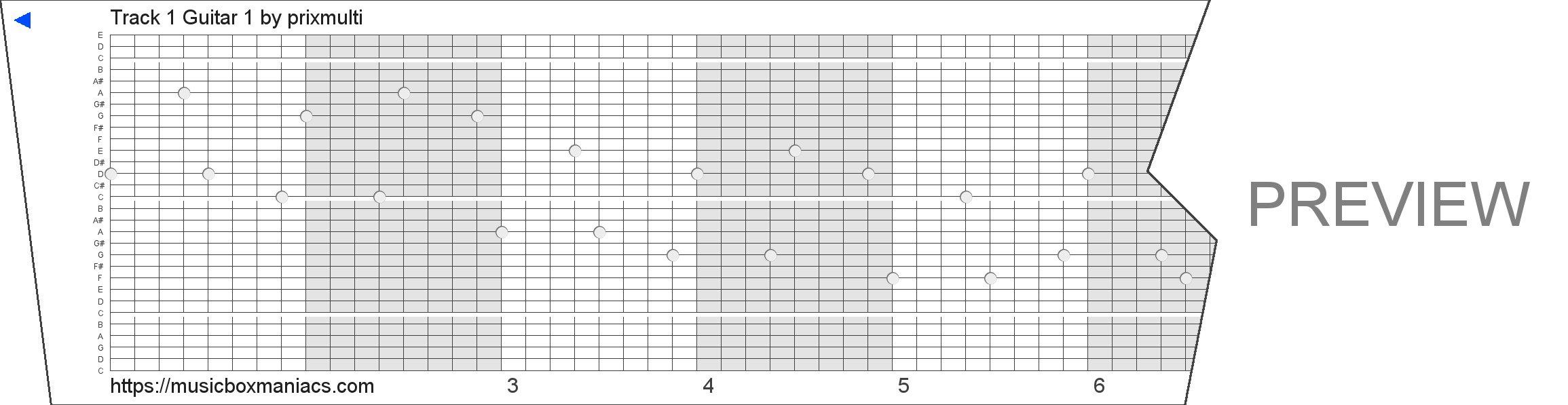 Track 1 Guitar 1 30 note music box paper strip