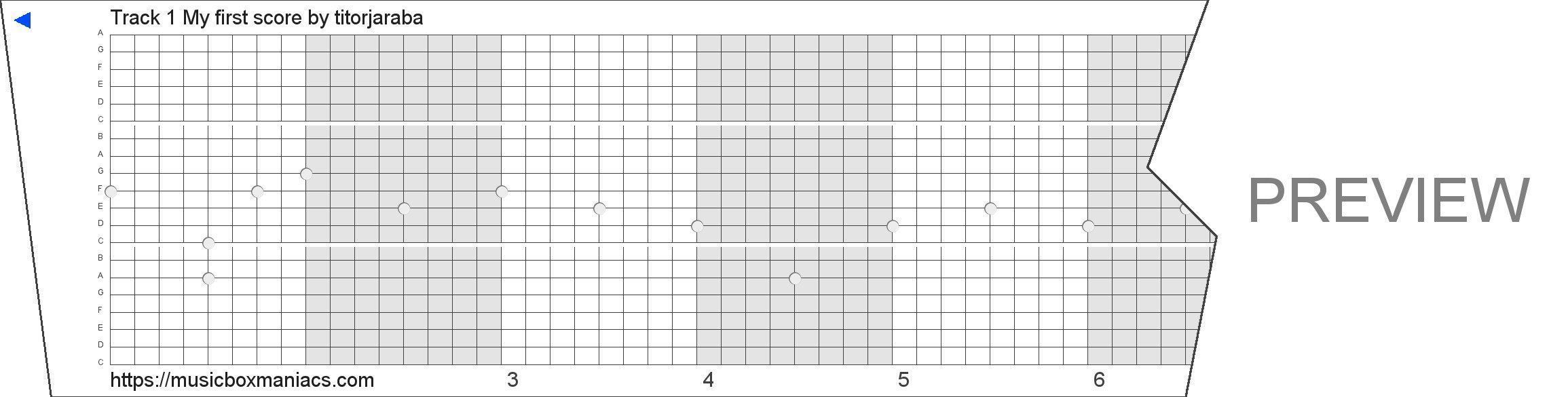 Track 1 My first score 20 note music box paper strip
