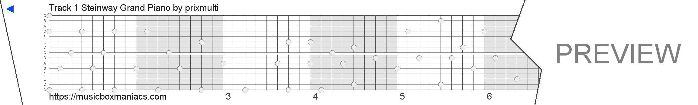 Track 1 Steinway Grand Piano 15 note music box paper strip