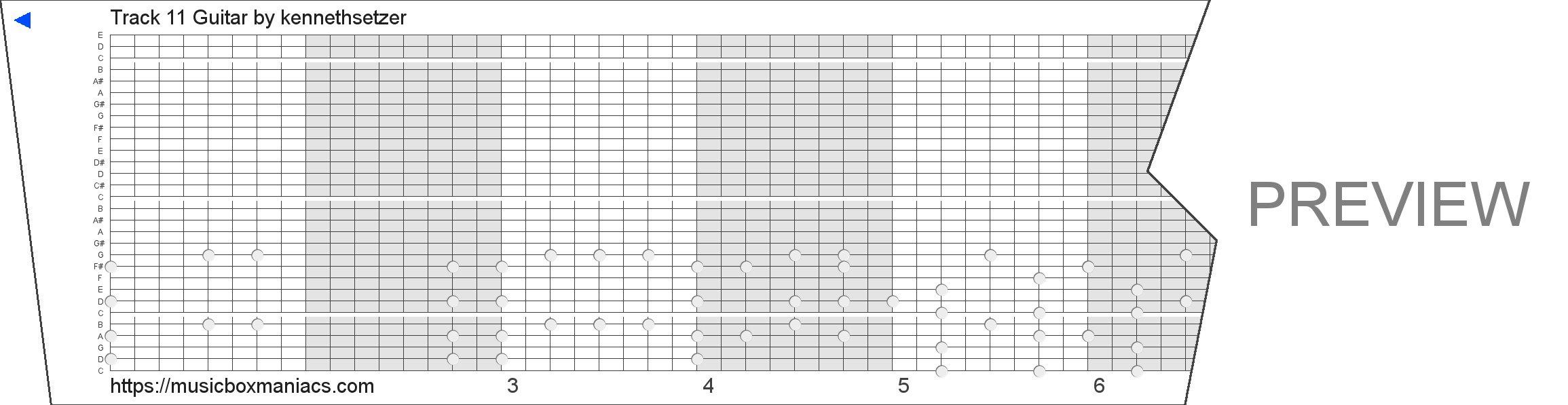 Track 11 Guitar 30 note music box paper strip