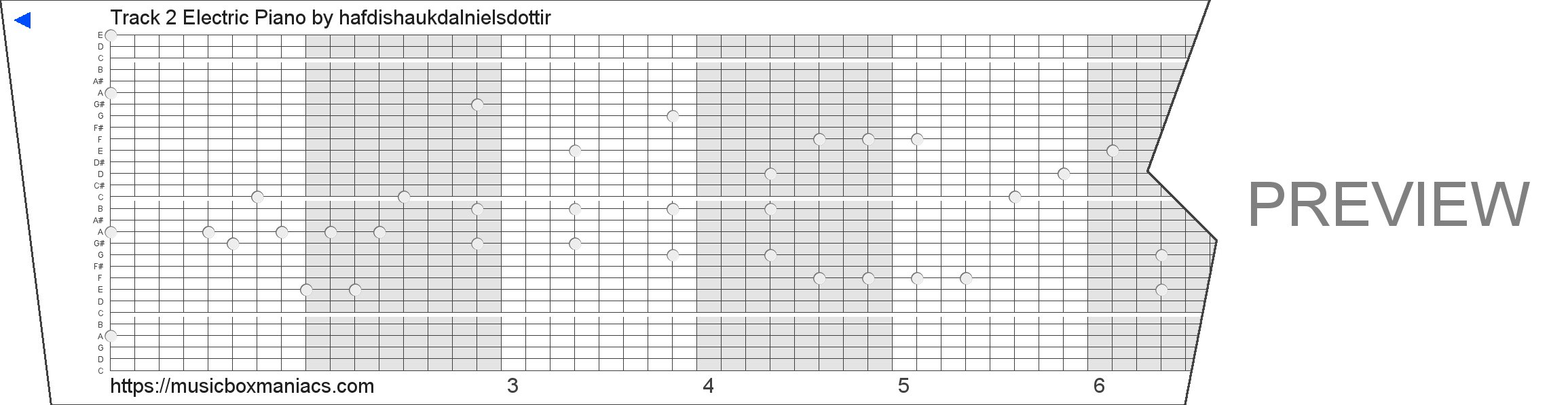 Track 2 Electric Piano 30 note music box paper strip
