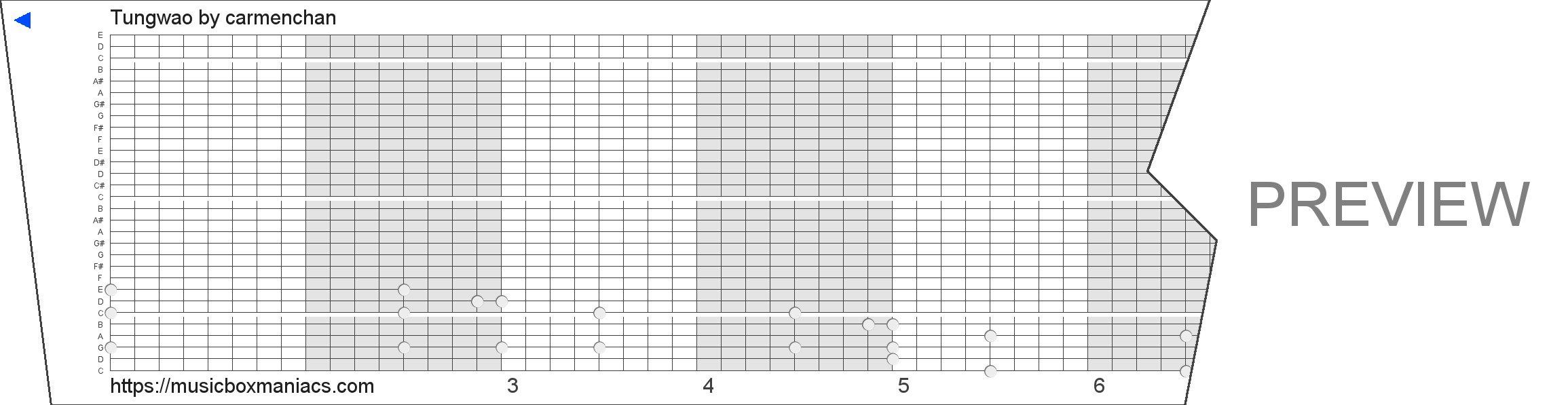 Tungwao 30 note music box paper strip