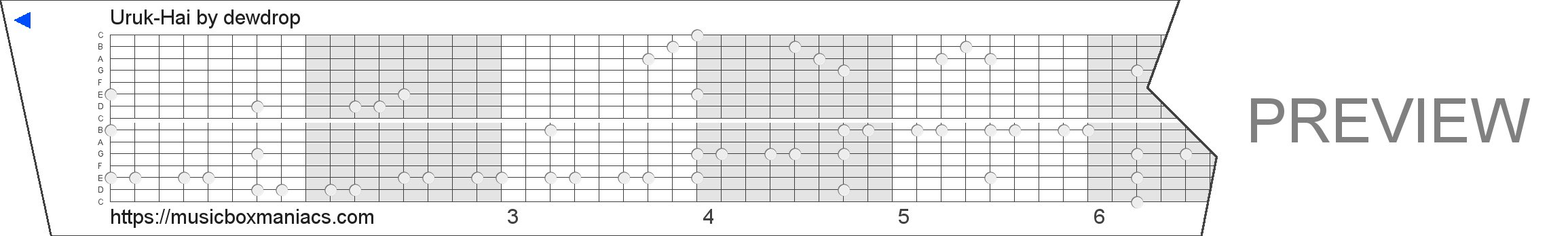 Uruk-Hai 15 note music box paper strip