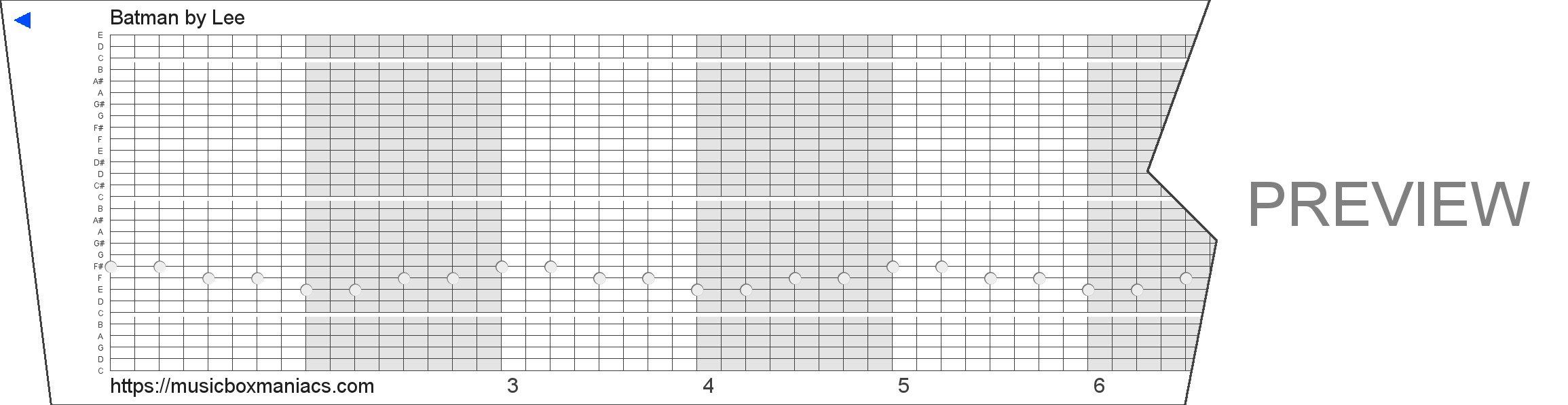 Batman 30 note music box paper strip