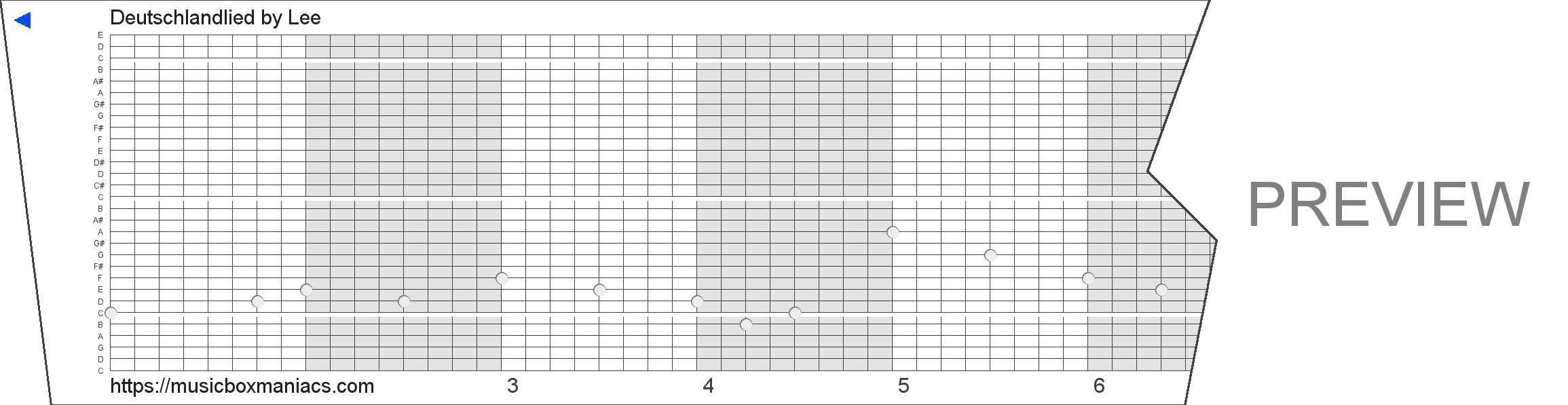 Deutschlandlied 30 note music box paper strip
