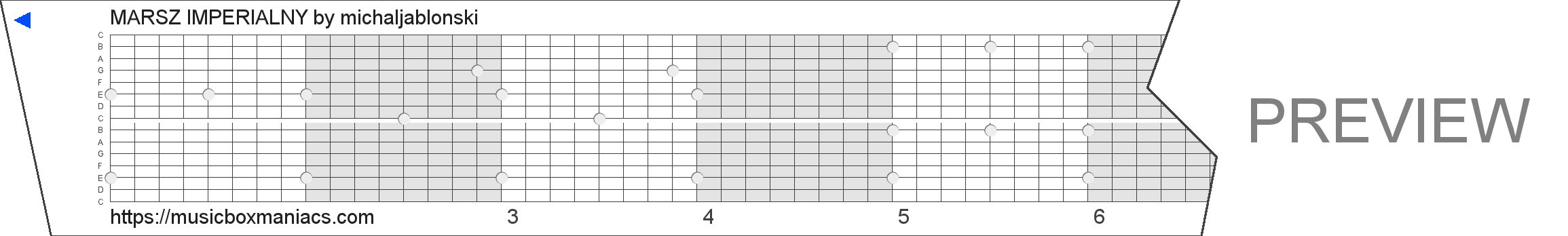 MARSZ IMPERIALNY 15 note music box paper strip