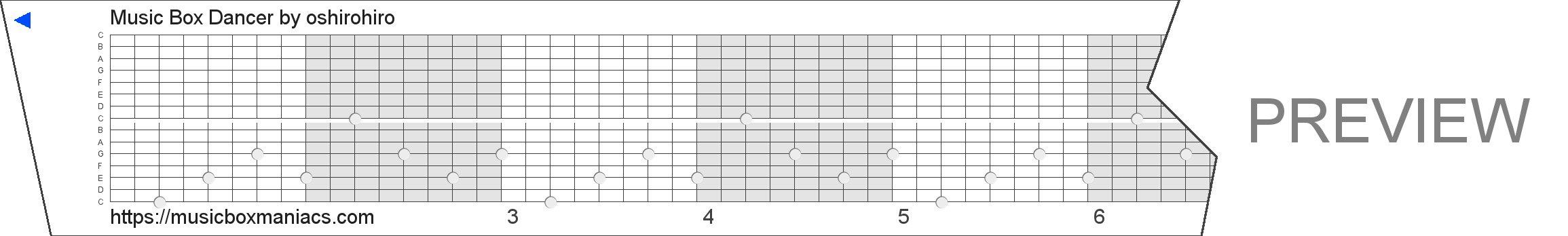 Music Box Dancer 15 note music box paper strip