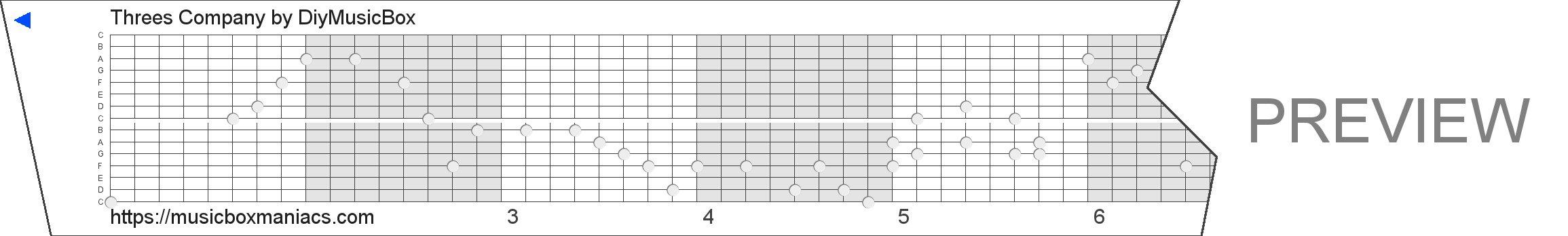 Threes Company 15 note music box paper strip