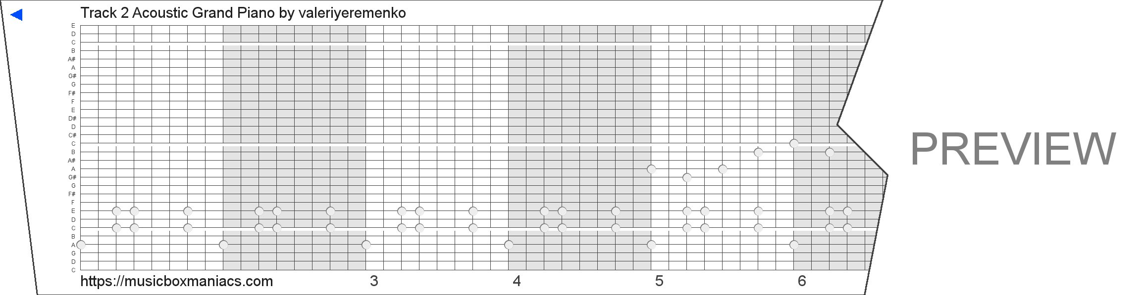Track 2 Acoustic Grand Piano 30 note music box paper strip
