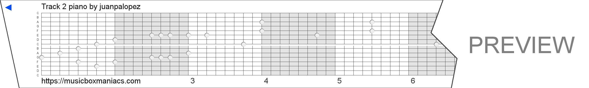 Track 2 piano 15 note music box paper strip