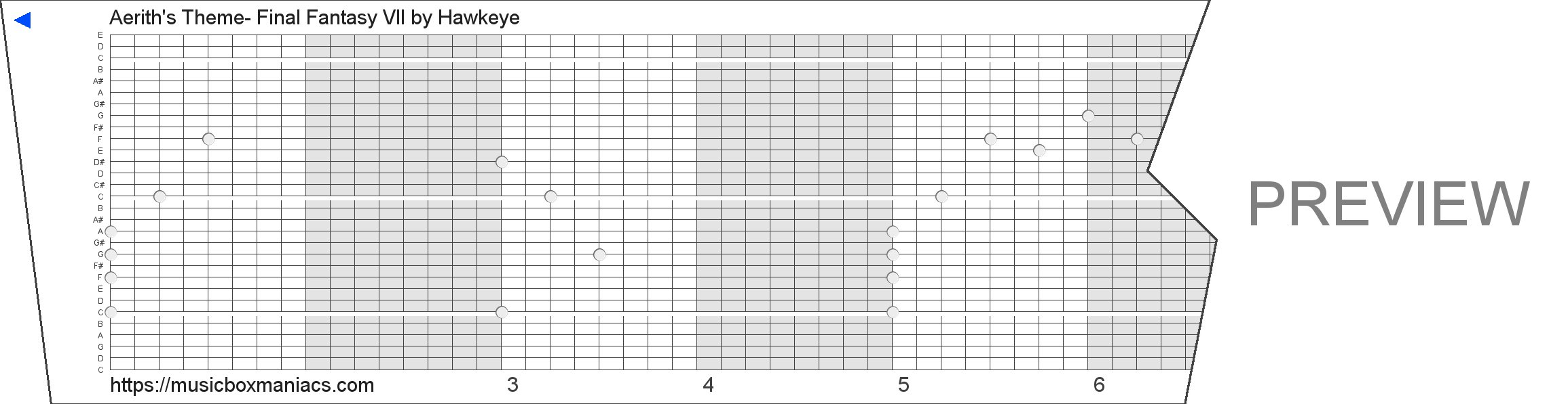 Aerith's Theme- Final Fantasy VII 30 note music box paper strip