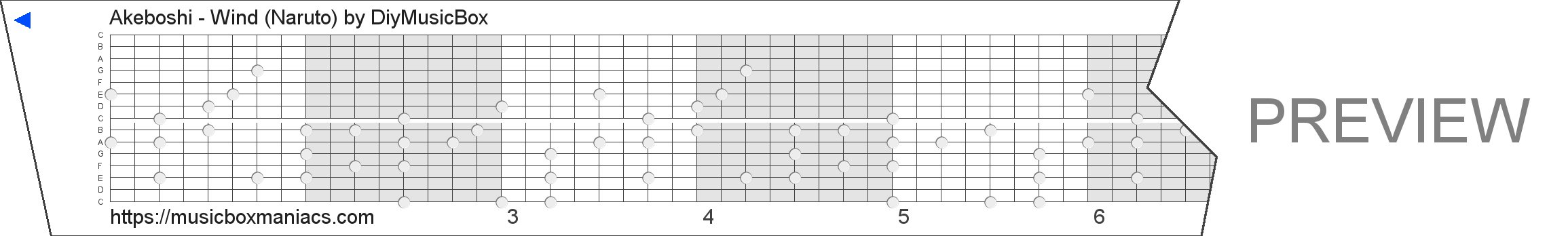 Akeboshi - Wind (Naruto) 15 note music box paper strip