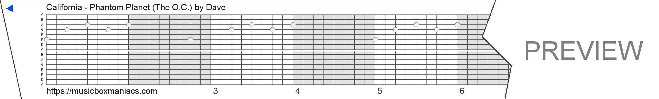 California - Phantom Planet (The O.C.) 15 note music box paper strip