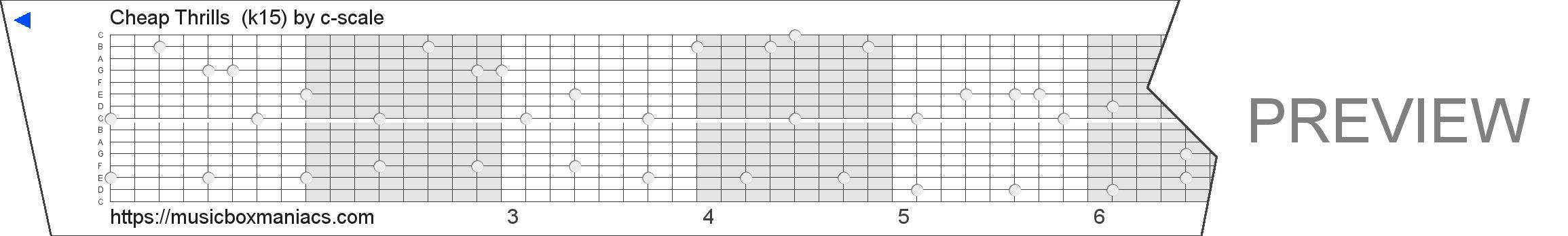 Cheap Thrills  (k15) 15 note music box paper strip