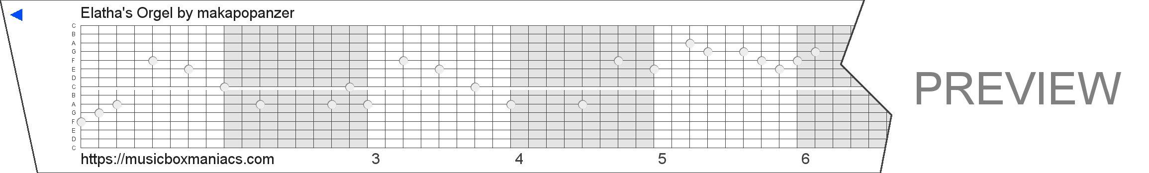 Elatha's Orgel 15 note music box paper strip