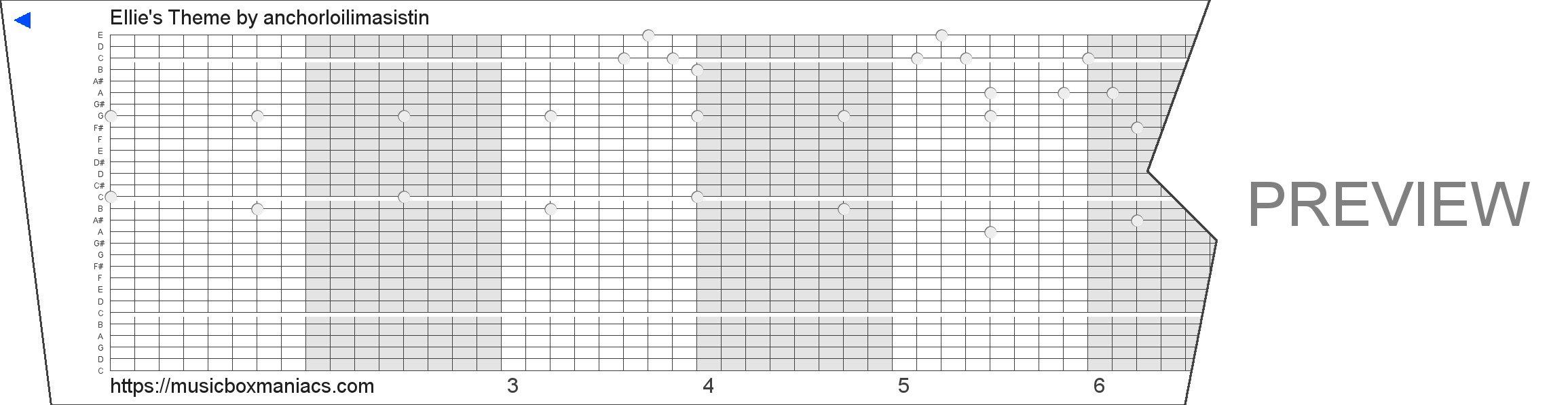 Ellie's Theme 30 note music box paper strip