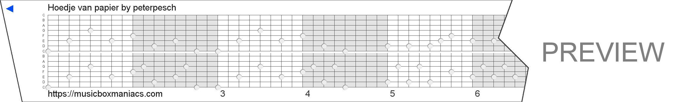 Hoedje van papier 15 note music box paper strip