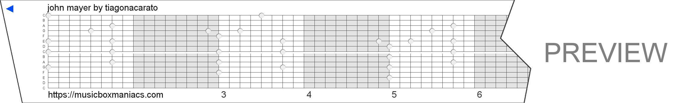 john mayer 15 note music box paper strip