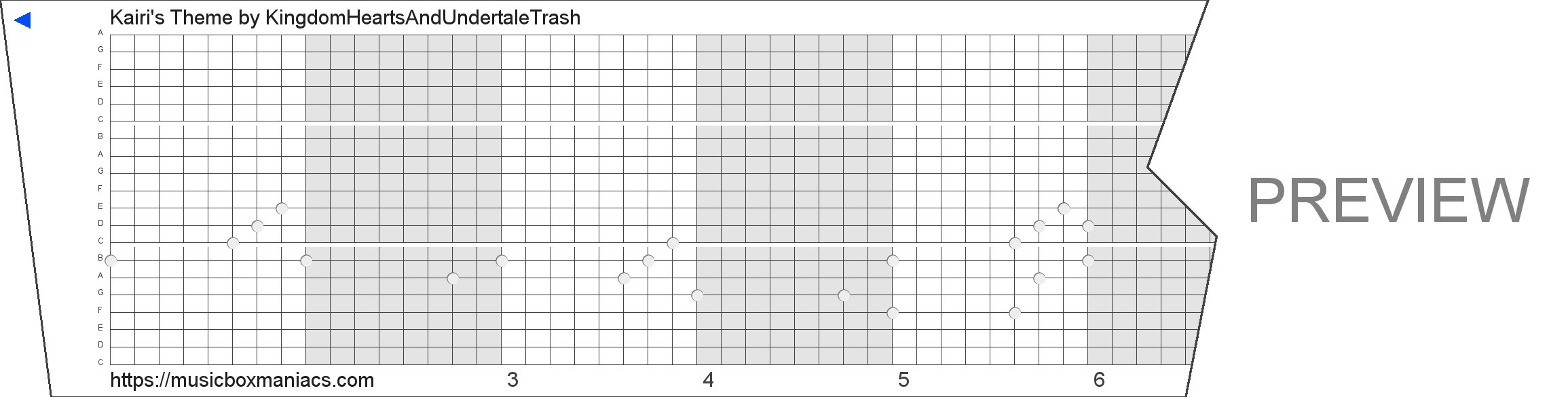 Kairi's Theme 20 note music box paper strip