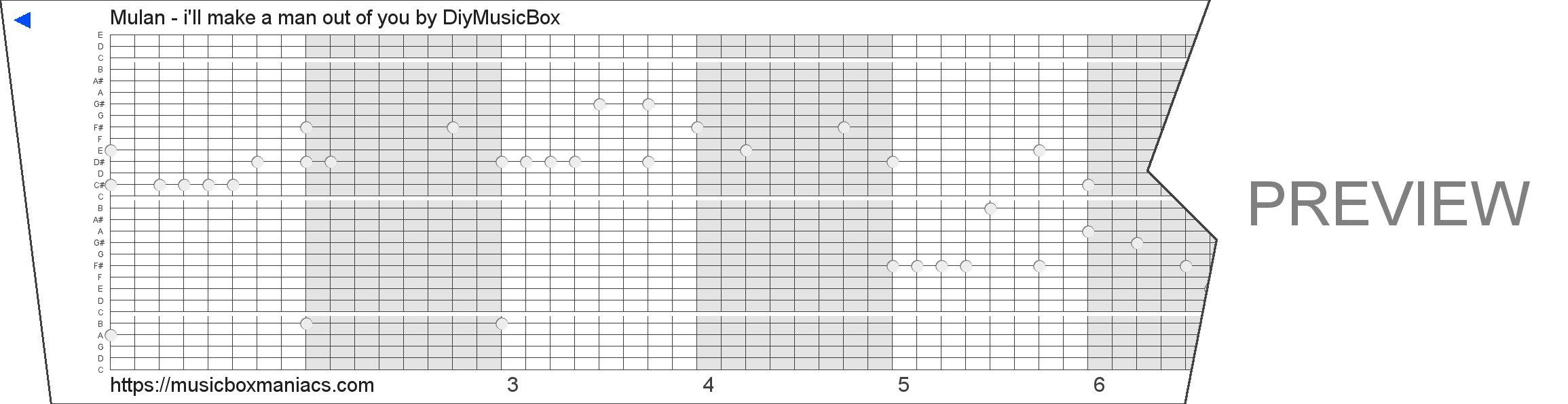Mulan - i'll make a man out of you 30 note music box paper strip