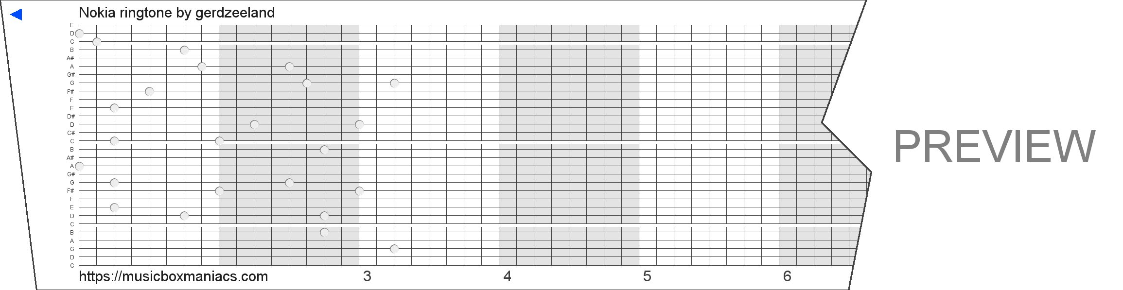 Nokia ringtone 30 note music box paper strip