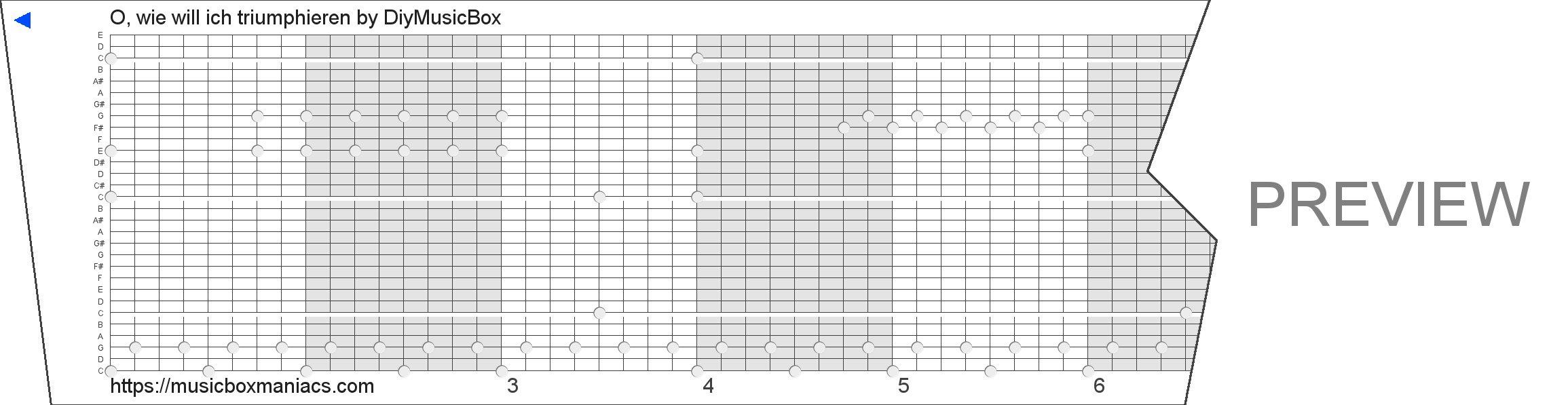 O, wie will ich triumphieren 30 note music box paper strip